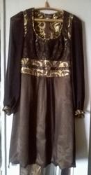Нарядное платье,  чёрный шифон с золотом