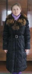 Пуховик пальто черное длинное рр 46-50 пух/перо+мех ТОРГ